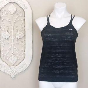 Nike   Black Sheer Stripe Multi Strap Tank Top XS